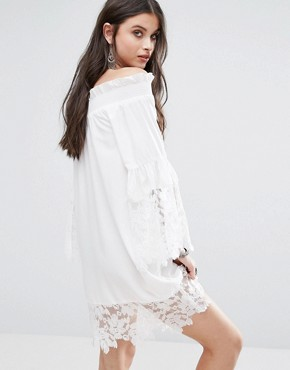 photo Allover Lace Crochet Off Shoulder Dress by White Cove Petite, color White - Image 2