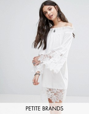 photo Allover Lace Crochet Off Shoulder Dress by White Cove Petite, color White - Image 1