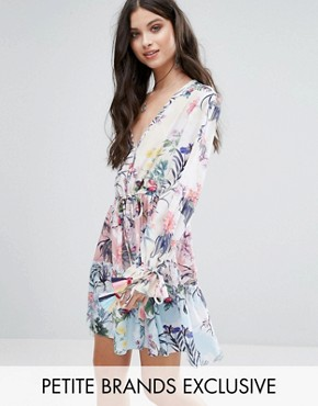 photo All Over Multi Floral Print Smock Dress by White Cove Petite, color Multi - Image 1