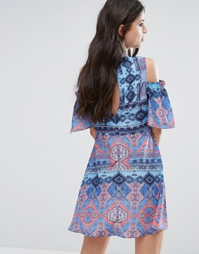 photo Cold Shoulder All Over Printed Skater Dress by White Cove Petite, color Multi - Image 2