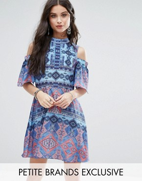 photo Cold Shoulder All Over Printed Skater Dress by White Cove Petite, color Multi - Image 1