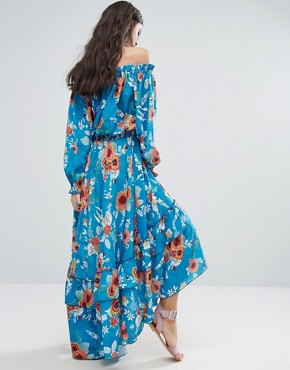 photo Off Shoulder Floral Printed Maxi Dress with Tiered Hem by White Cove Petite, color Multi - Image 2