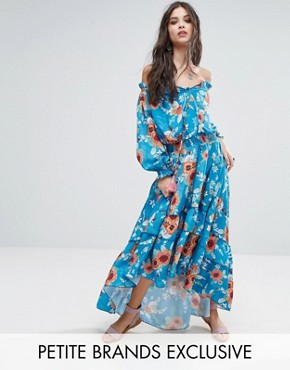 photo Off Shoulder Floral Printed Maxi Dress with Tiered Hem by White Cove Petite, color Multi - Image 1