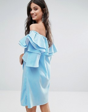 photo Off Shoulder Boned Mini Dress with Volumnious Ruffle Sleeve Detail by White Cove Petite, color Blue Stripe - Image 2
