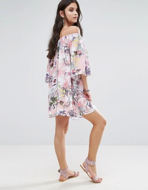 photo Off Shoulder All Over Printed Smock Dress by White Cove Petite, color Multi - Image 2