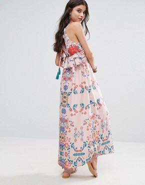 photo Frill Layered Maxi Dress in Bright Floral Print by White Cove Petite, color Multi - Image 2