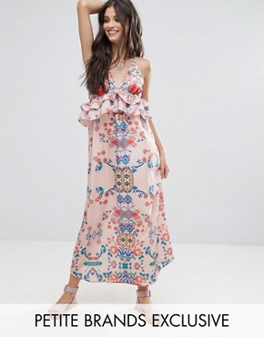 photo Frill Layered Maxi Dress in Bright Floral Print by White Cove Petite, color Multi - Image 1