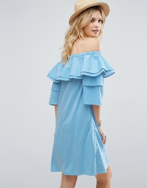 photo Off Shoulder Boned Mini Dress Volumnious Ruffle Sleeve Detail by White Cove Tall, color Blue Stripe - Image 2