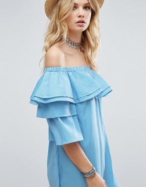 photo Off Shoulder Boned Mini Dress Volumnious Ruffle Sleeve Detail by White Cove Tall, color Blue Stripe - Image 3