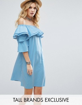 photo Off Shoulder Boned Mini Dress Volumnious Ruffle Sleeve Detail by White Cove Tall, color Blue Stripe - Image 1