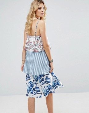 photo Allover Printed Layered Cami Strap Swing Dress by White Cove Tall, color Multi - Image 2
