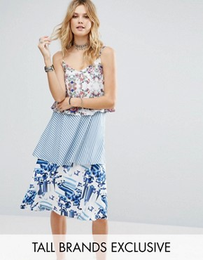 photo Allover Printed Layered Cami Strap Swing Dress by White Cove Tall, color Multi - Image 1