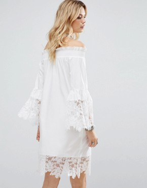 photo Allover Lace Crochet Off Shoulder Dress by White Cove Tall, color White - Image 2