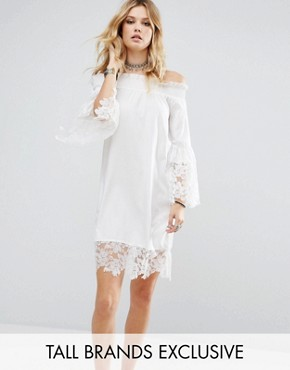 photo Allover Lace Crochet Off Shoulder Dress by White Cove Tall, color White - Image 1