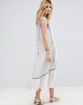 photo Embroidered Mirror Detail Maxi Dress with Tassel Ties by White Cove Tall, color Multi - Image 2