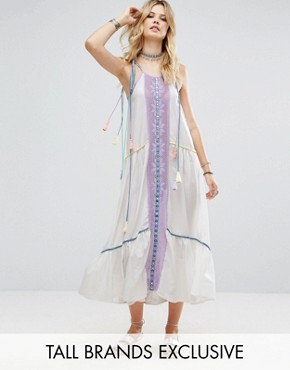 photo Embroidered Mirror Detail Maxi Dress with Tassel Ties by White Cove Tall, color Multi - Image 1