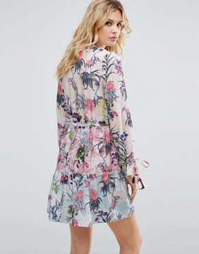 photo Allover Multi Floral Print Smock Dress by White Cove Tall, color Multi - Image 2