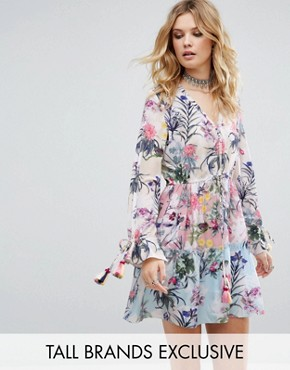 photo Allover Multi Floral Print Smock Dress by White Cove Tall, color Multi - Image 1