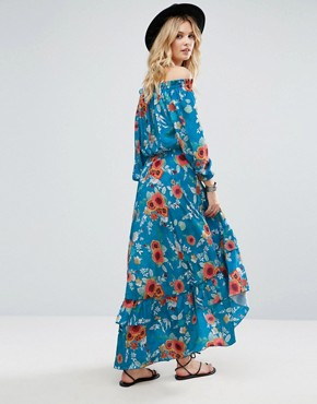 photo Off Shoulder Floral Printed Maxi Dress with Tiered Hem by White Cove Tall, color Multi - Image 2