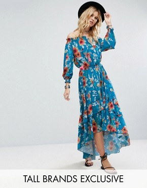 photo Off Shoulder Floral Printed Maxi Dress with Tiered Hem by White Cove Tall, color Multi - Image 1