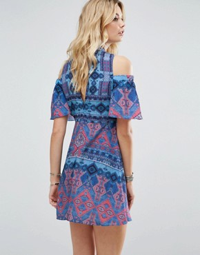 photo Cold Shoulder Printed Skater Dress by White Cove Tall, color Multi - Image 2