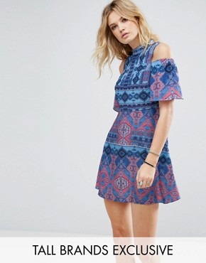 photo Cold Shoulder Printed Skater Dress by White Cove Tall, color Multi - Image 1