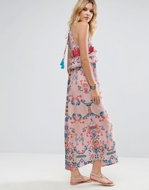 photo Frill Layered Maxi Dress in Bright Floral Print by White Cove Tall, color Multi - Image 2