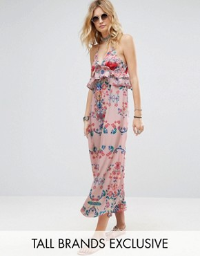 photo Frill Layered Maxi Dress in Bright Floral Print by White Cove Tall, color Multi - Image 1