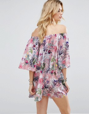 photo Off Shoulder Allover Printed Smock Dress by White Cove Tall, color Multi - Image 2