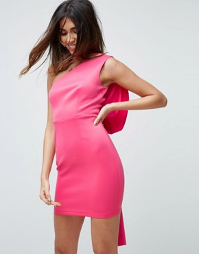 photo Bow Back One Shoulder Mini Dress by ASOS NIGHT PREMIUM, color Pink - Image 2