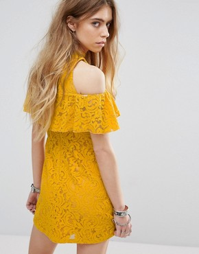 photo Beauty and The Beast Bardot Frill Dress with Choker Strap Detail in Lace by Minkpink, color Yellow - Image 2