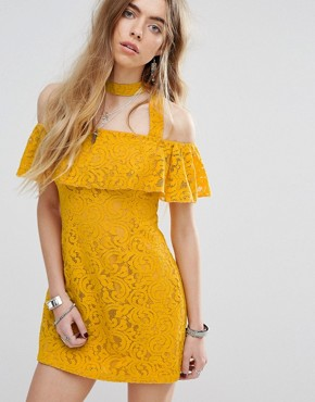 photo Beauty and The Beast Bardot Frill Dress with Choker Strap Detail in Lace by Minkpink, color Yellow - Image 1