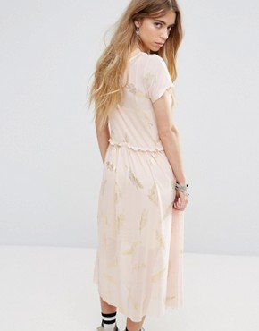 photo Beauty and The Beast Sheer Layer Smock Dress with Feather Print by Minkpink, color Dusty Pink - Image 2