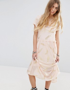 photo Beauty and The Beast Sheer Layer Smock Dress with Feather Print by Minkpink, color Dusty Pink - Image 1