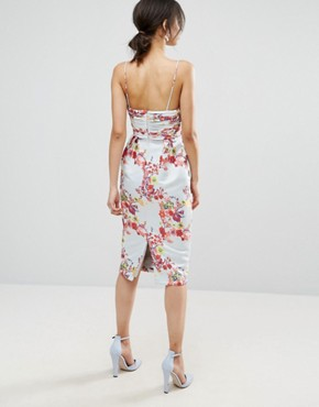 photo Midi Pencil Dress with Embroidery and Ruched Waist Detail by ASOS TALL SALON, color Multi - Image 2