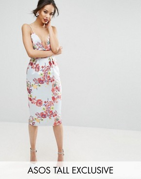photo Midi Pencil Dress with Embroidery and Ruched Waist Detail by ASOS TALL SALON, color Multi - Image 1