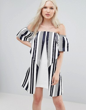 photo Valley Origami Dress by N12H, color Navy Stripe - Image 1