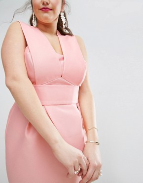 photo Structured Bandeau Strap Dress by ASOS CURVE SALON, color Blush - Image 3
