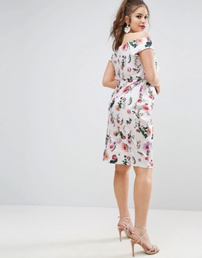 photo Bardot Dress in Floral Print with Drape Waist by ASOS CURVE SALON, color Multi - Image 2