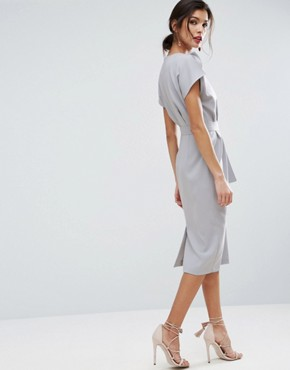 photo Belted Midi Dress with Split Cap Sleeve and Pencil Skirt by ASOS, color Pale Blue - Image 2