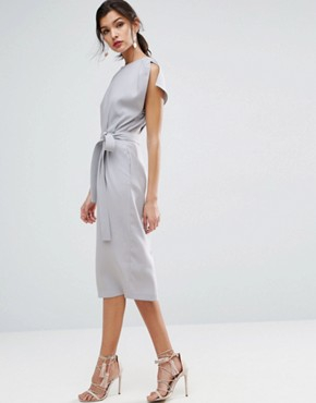 photo Belted Midi Dress with Split Cap Sleeve and Pencil Skirt by ASOS, color Pale Blue - Image 1