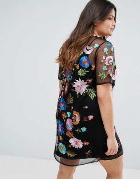 photo Mini T-Shirt Dress in Pretty Embroidered Mesh by ASOS CURVE PREMIUM, color Multi - Image 2