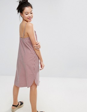 photo Gingham Pocket Cami Dress by Monki, color Red Check Gingham - Image 2