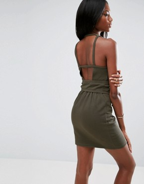 photo Sleeveless Corset Mini Dress with Cut Out Back by ASOS, color Khaki - Image 2