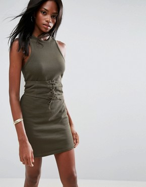 photo Sleeveless Corset Mini Dress with Cut Out Back by ASOS, color Khaki - Image 1