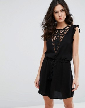 photo Japlin Dress with Lace Placket and Drawstring Waist by WYLDR, color Black - Image 1