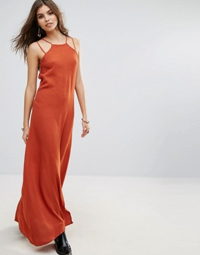photo in Your Eyes Open Back Maxi Dress with Cross Back Details by WYLDR, color Orange - Image 2
