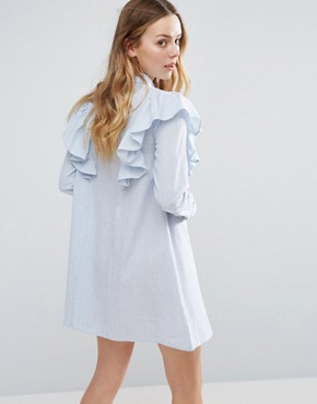 photo Ruffle Shoulder Shirt Dress by Influence, color Blue - Image 2