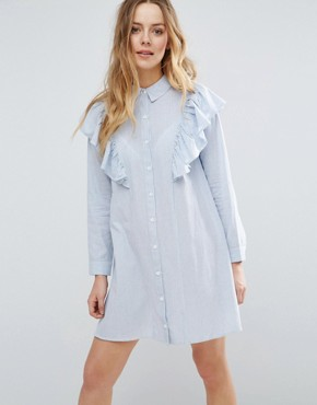 photo Ruffle Shoulder Shirt Dress by Influence, color Blue - Image 1