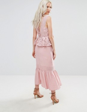 photo Primrose Lace Midi Dress with Peplum by Foxiedox, color Pink - Image 2